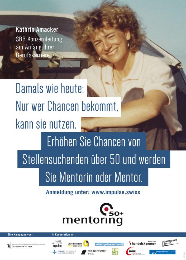 Das Foto zeigt das Plakat mit Kathrin Amacker (SBB-Konzernleitung) am Anfang ihrer Berufskarriere.