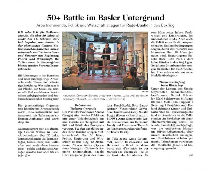 Dieses Foto zeigt den Artikel über unsere 50 Plus-Veranstaltung in der Basler Woche