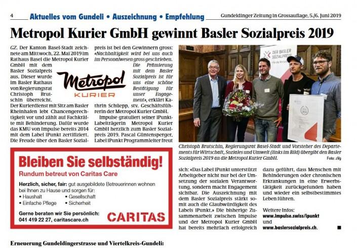 Das Foto zeigt den Artikel über den Basler Sozialpreis in der Gundeldinger Zeitung