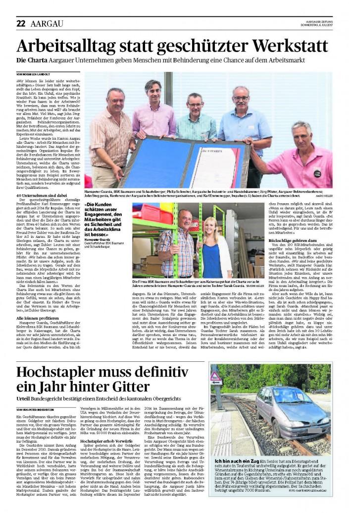 Das Foto zeigt den Artikel über die CHARTA-Lancierung in der Aargauer Zeitung