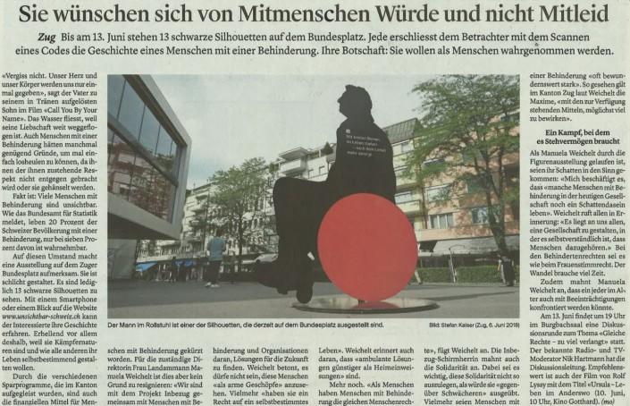 Das Foto zeigt den Artikel über die Kampagne «Unsichtbar» in der Zuger Zeitung