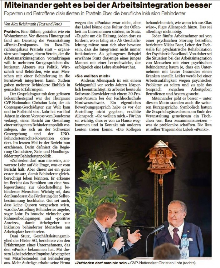 Das Foto zeigt den Artikel über die iPunkt-Denkpause 2018 in der Basler Zeitung