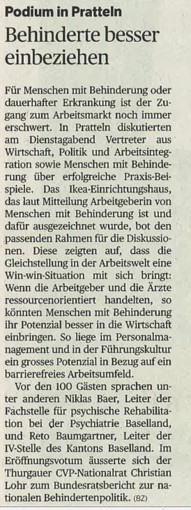 Das Foto zeigt den Artikel über die iPunkt-Denkpause in der BZ Basel.